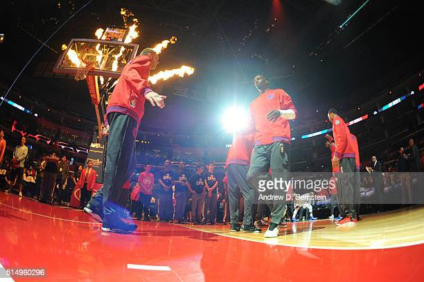Jeff Green of the Los Angeles Clippers is introduced before the game against the New York Knicks on March 11 2016 at STAPLES Center in Los Angeles...