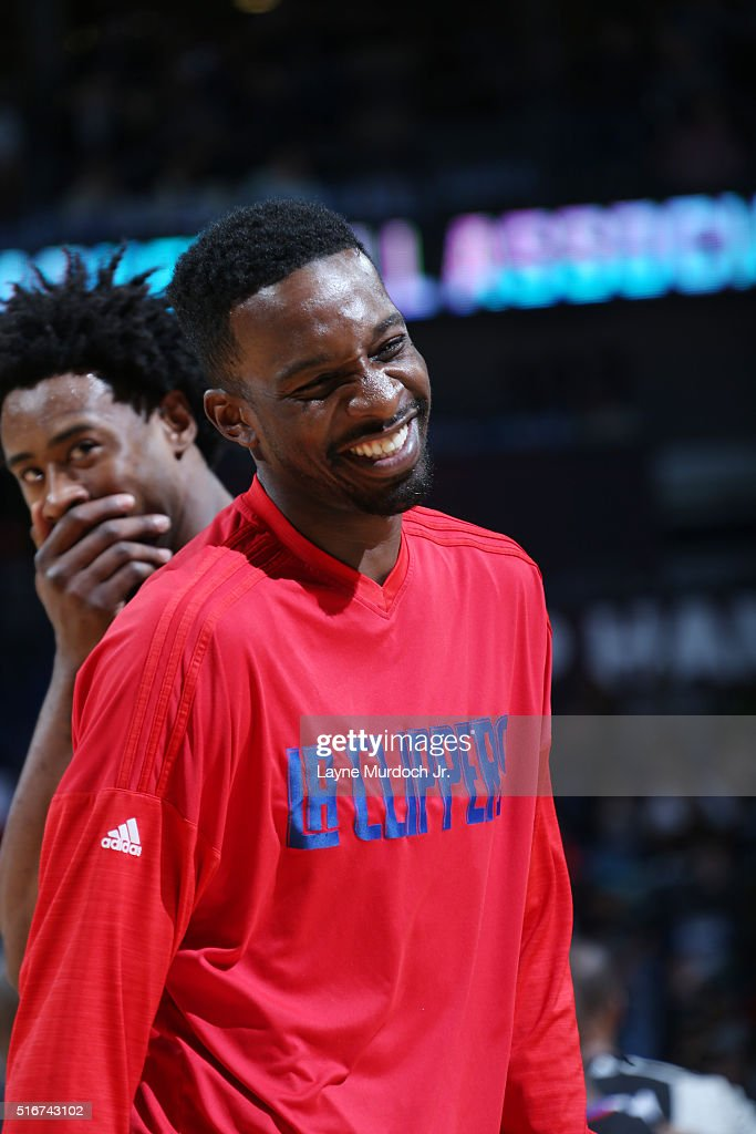 <a gi-track='captionPersonalityLinkClicked' href=/galleries/search?phrase=Jeff+Green+-+Basketballer&family=editorial&specificpeople=4218745 ng-click='$event.stopPropagation()'>Jeff Green</a> #8 of the Los Angeles Clippers smiles during the game against the New Orleans Pelicans on March 20, 2016 at Smoothie King Center in New Orleans, Louisiana.
