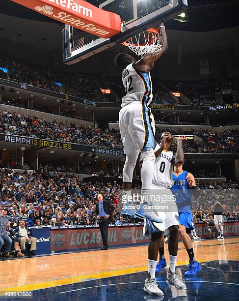 Jeff Green of the Memphis Grizzlies catches the ball for the reverse dunk during the game against the Dallas Mavericks on November 24 2015 at FedEx...