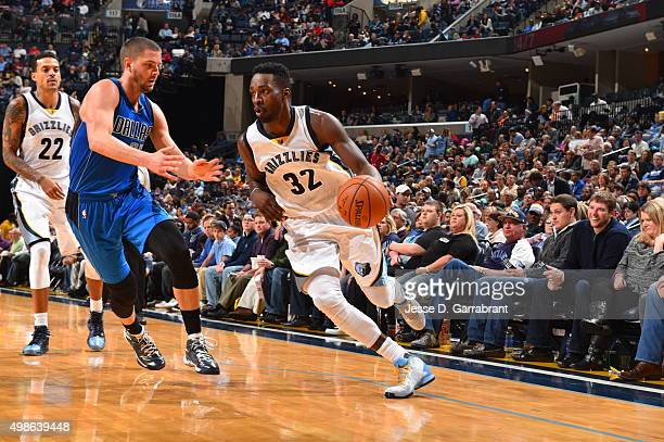 Jeff Green of the Memphis Grizzlies drives baseline during the game against the Dallas Mavericks on November 24 2015 at FedEx Forum in Memphis...