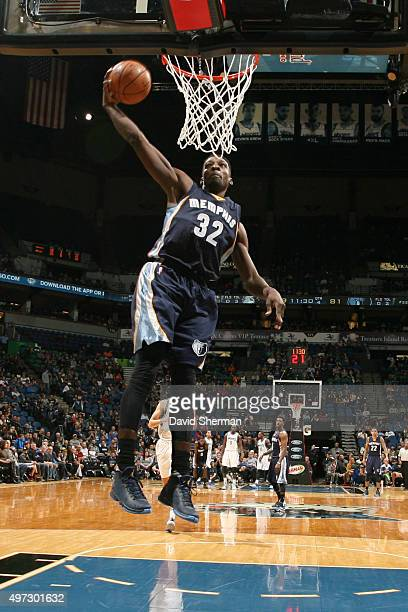 Jeff Green of the Memphis Grizzlies dunks against the Minnesota Timberwolves during the game on November 15 2015 at Target Center in Minneapolis...