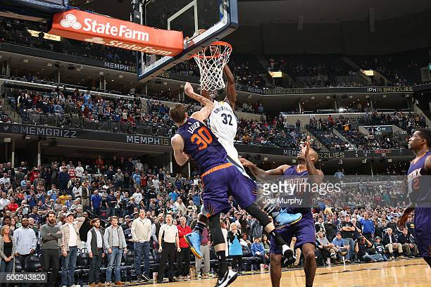 Jeff Green of the Memphis Grizzlies dunks the winning shot during the game against the Phoenix Suns on December 6 2015 at FedExForum in Memphis...