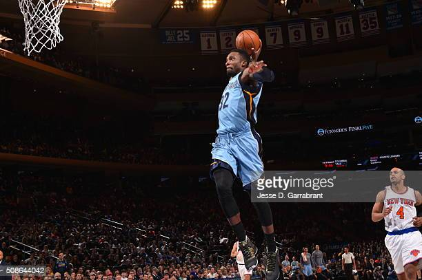 Jeff Green of the Memphis Grizzlies goes up for the dunk against the New York Knicks at Madison Square Garden on February 5 2016 in New YorkNew York...