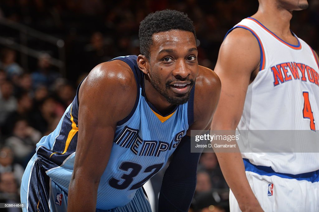 <a gi-track='captionPersonalityLinkClicked' href=/galleries/search?phrase=Jeff+Green+-+Basket&family=editorial&specificpeople=4218745 ng-click='$event.stopPropagation()'>Jeff Green</a> #32 of the Memphis Grizzlies looks on against the New York Knicks at Madison Square Garden on February 5, 2016 in New York,New York