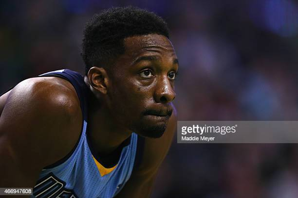 Jeff Green of the Memphis Grizzlies looks on during the game against the Boston Celtics at TD Garden on March 11 2015 in Boston Massachusetts NOTE TO...