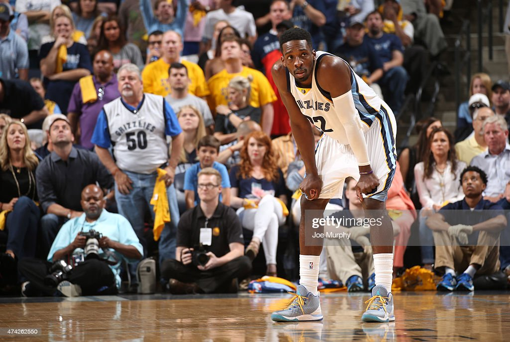 <a gi-track='captionPersonalityLinkClicked' href=/galleries/search?phrase=Jeff+Green+-+Basketball&family=editorial&specificpeople=4218745 ng-click='$event.stopPropagation()'>Jeff Green</a> #32 of the Memphis Grizzlies looks on during the game against the Golden State Warriors in Game Six of the Western Conference Semifinals of the NBA Playoffs at FedExForum on May 15, 2015 in Memphis, Tennessee.