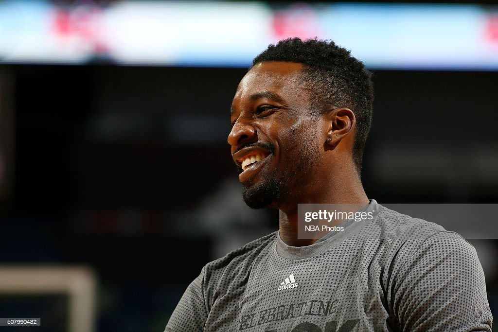 <a gi-track='captionPersonalityLinkClicked' href=/galleries/search?phrase=Jeff+Green+-+Basketball&family=editorial&specificpeople=4218745 ng-click='$event.stopPropagation()'>Jeff Green</a> #32 of the Memphis Grizzlies looks on during the game against the New Orleans Pelicans on February 1, 2016 at the Smoothie King Center in New Orleans, Louisiana.