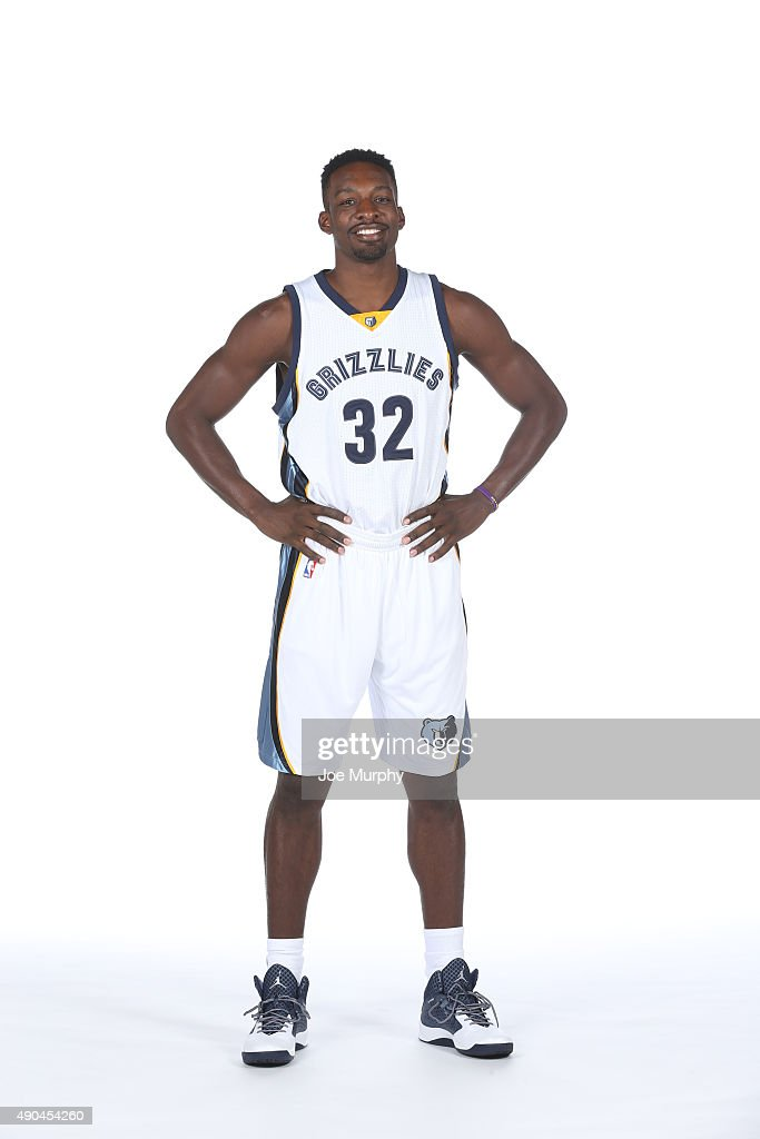 <a gi-track='captionPersonalityLinkClicked' href=/galleries/search?phrase=Jeff+Green+-+Basket&family=editorial&specificpeople=4218745 ng-click='$event.stopPropagation()'>Jeff Green</a> #32 of the Memphis Grizzlies poses for a portrait during their 2015 media day at FedExForum on September 28, 2015 in Memphis, Tennessee.