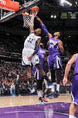Jeff Green of the Memphis Grizzlies rebounds against Jason Thompson of the Sacramento Kings on February 25 2015 at Sleep Train Arena in Sacramento...