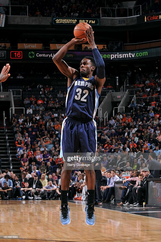 <a gi-track='captionPersonalityLinkClicked' href=/galleries/search?phrase=Jeff+Green+-+Jogador+de+basquete&family=editorial&specificpeople=4218745 ng-click='$event.stopPropagation()'>Jeff Green</a> #32 of the Memphis Grizzlies shoots against the Phoenix Suns on February 2, 2015 at U.S. Airways Center in Phoenix, Arizona.