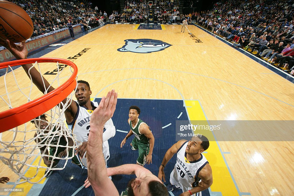 <a gi-track='captionPersonalityLinkClicked' href=/galleries/search?phrase=Jeff+Green+-+Basket&family=editorial&specificpeople=4218745 ng-click='$event.stopPropagation()'>Jeff Green</a> #32 of the Memphis Grizzlies shoots the ball against the Milwaukee Bucks on January 28, 2016 at FedExForum in Memphis, Tennessee.