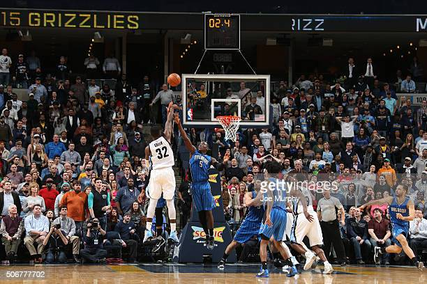 Jeff Green of the Memphis Grizzlies shoots the game tying shot sending the game to overtime against the Orlando Magic on January 25 2016 in Memphis...