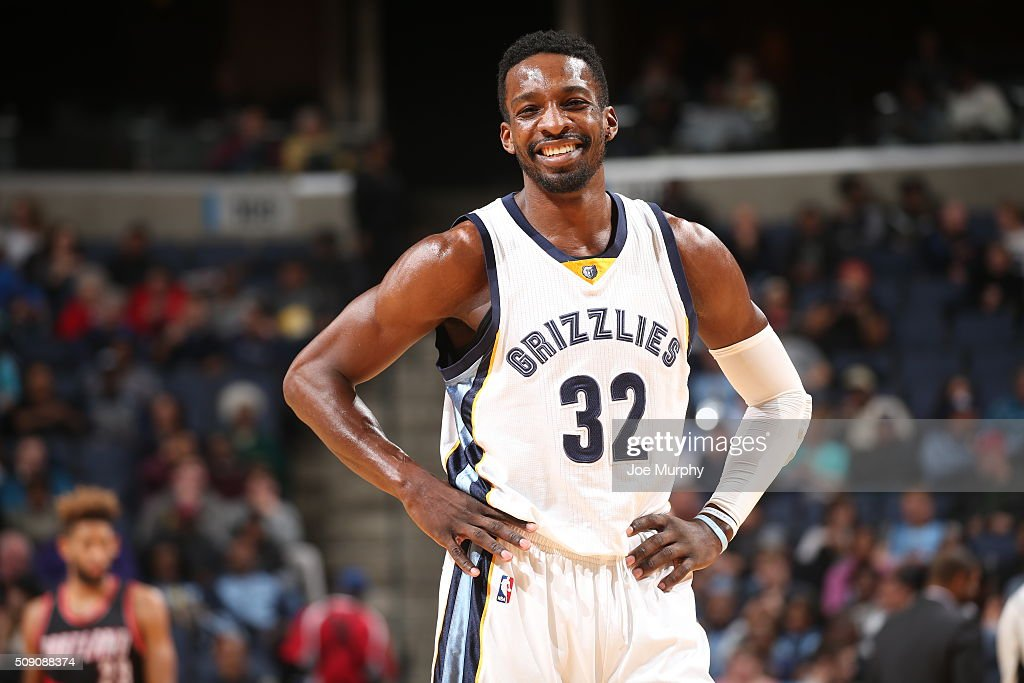 Jeff Green #32 of the Memphis Grizzlies stands on the court during the game against the Portland Trail Blazers on February 8, 2016 at FedExForum in Memphis, Tennessee.