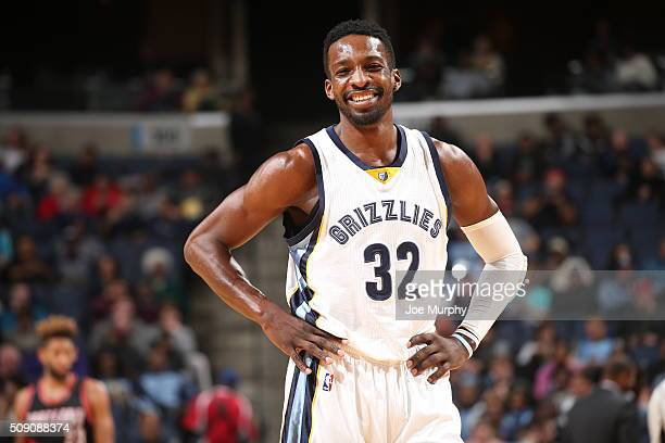 Jeff Green of the Memphis Grizzlies stands on the court during the game against the Portland Trail Blazers on February 8 2016 at FedExForum in...