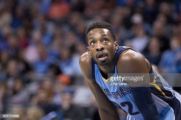 Jeff Green of the Memphis Grizzlies watch an Oklahoma City Thunder free throw during the first quarter of a NBA game at the Chesapeake Energy Arena...