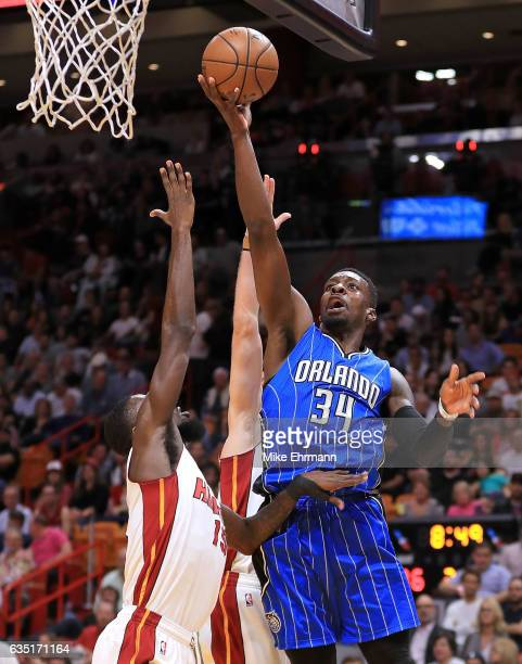 Jeff Green of the Orlando Magic drives to the basket during a game against the Miami Heat at American Airlines Arena on February 13 2017 in Miami...