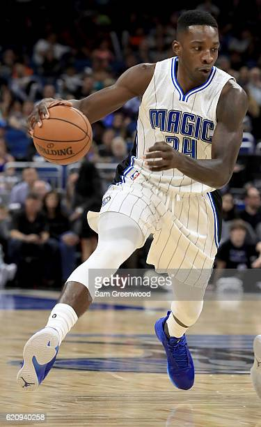 Jeff Green of the Orlando Magic drives toward the basket during the game against the Sacramento Kings at Amway Center on November 3 2016 in Orlando...