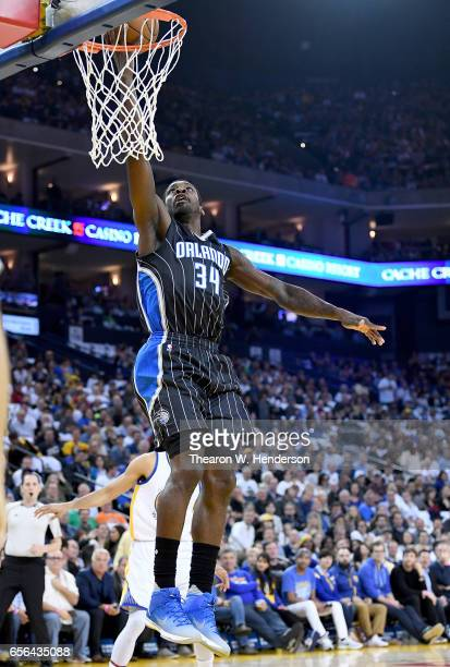 Jeff Green of the Orlando Magic goes up for a layup against the Golden State Warriors during an NBA basketball game at ORACLE Arena on March 16 2017...