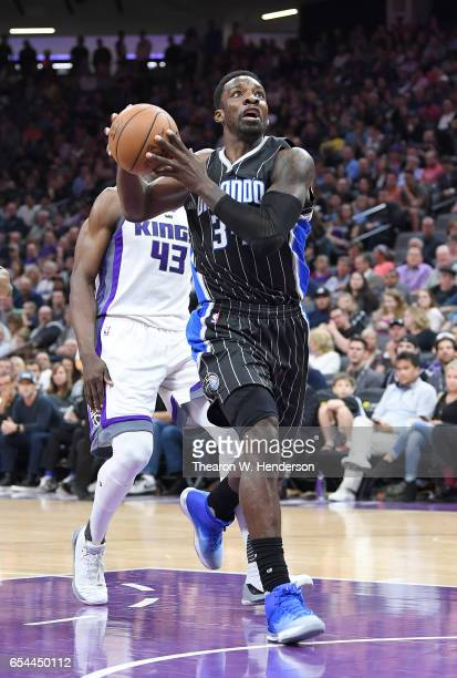 Jeff Green of the Orlando Magic goes up for a layup on a fastbreak against the Sacramento Kings during an NBA basketball game at Golden 1 Center on...