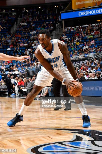 Jeff Green of the Orlando Magic handles the ball against the Philadelphia 76ers during the game on March 20 2017 at Amway Center in Orlando Florida...