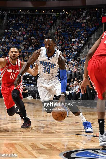 Jeff Green of the Orlando Magic handles the ball against the Houston Rockets on January 6 2017 at the Amway Center in Orlando Florida NOTE TO USER...