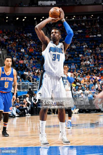 Jeff Green of the Orlando Magic shoots a free throw against the New York Knicks during the game on March 6 2017 at Amway Center in Orlando Florida...