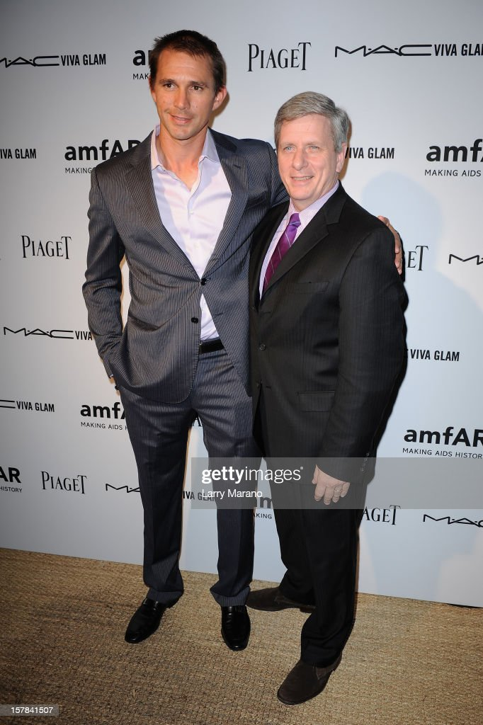 Jeff Hall and Larry Boland attend the amfAR Inspiration Miami Beach Party at Soho Beach House on December 6, 2012 in Miami Beach, Florida.