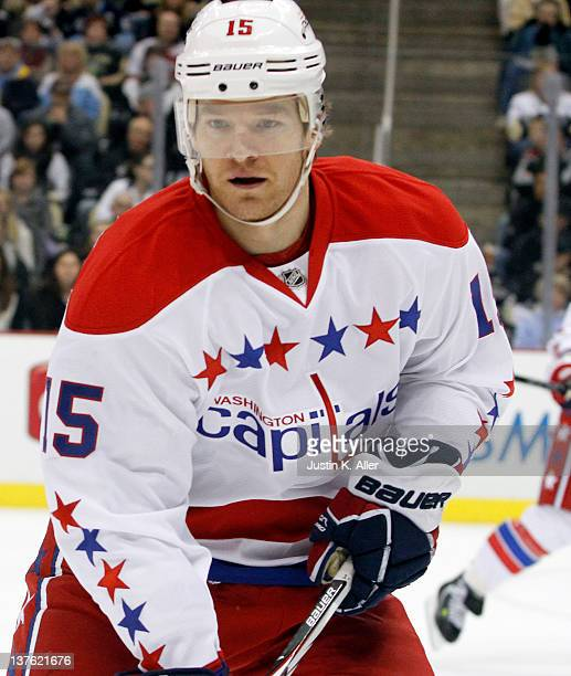 Jeff Halpern of the Washington Capitals looks on against the Pittsburgh Penguins during the game at Consol Energy Center on January 22 2012 in...