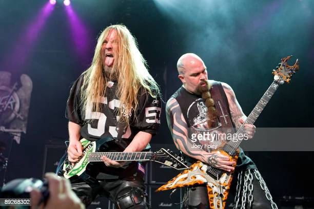 Jeff Hanneman and Kerry King of SLAYER perform in concert at the Rockstar Energy Drink Mayhem Festival at Verizon Wireless Music Center on July 25...