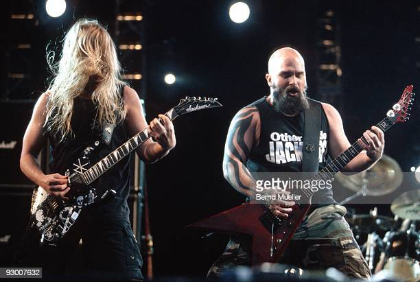 Jeff Hanneman and Kerry King of Slayer perform on stage at Roskilde Festival on June 25th 1998 in Denmark