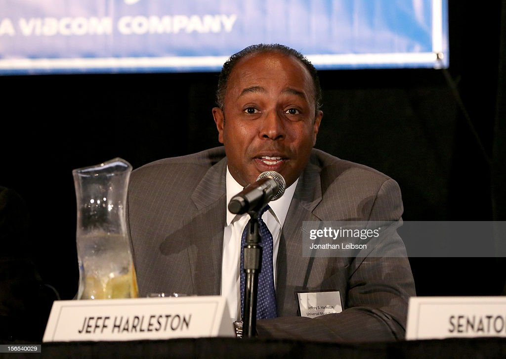 Jeff Harleston, General Councel & EVP, Business & Legal Affairs, Universal Music Group N.A. speaks onstage during A New Plank In Piracy/Content Theft Panel at Variety's Hollywood Chamber Entertainment Conference 2012 at Loews Hollywood Hotel on November 16, 2012 in Hollywood, California.