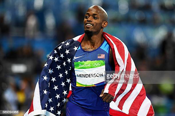 Jeff Henderson of the United States celebrates after wiining the Men's Long Jump Final on Day 8 of the Rio 2016 Olympic Games at the Olympic Stadium...