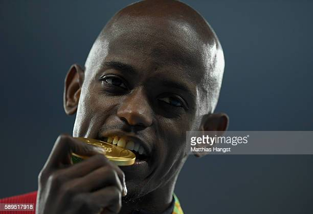 Jeff Henderson of the United States poses with the gold medal for Men's Long Jump on Day 9 of the Rio 2016 Olympic Games at the Olympic Stadium on...