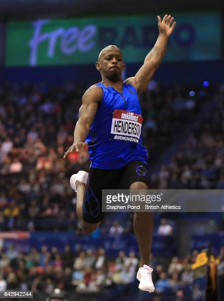 Jeff Henderson of USA competes in the mens long jump during the Muller Indoor Grand Prix 2017 at the Barclaycard Arena on February 18 2017 in...