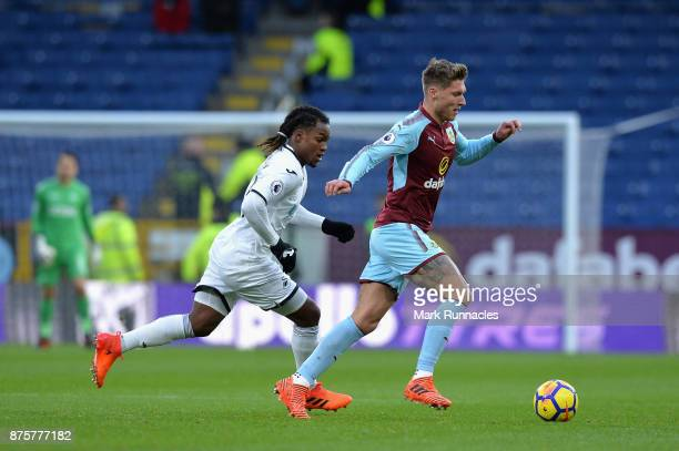 Jeff Hendrick of Burnley and Renato Sanches of Swansea City compete for the ball during the Premier League match between Burnley and Swansea City at...