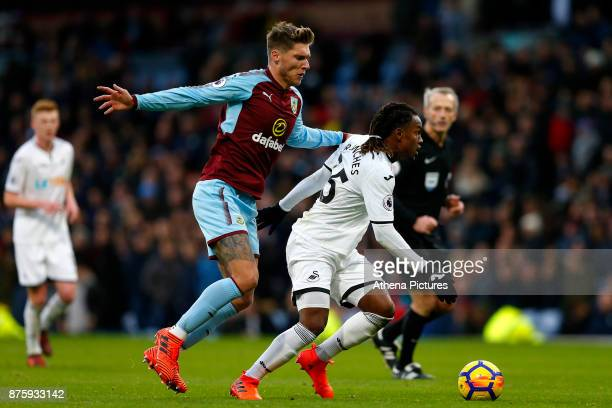 Jeff Hendrick of Burnley and Renato Sanches of Swansea City during the Premier League match between Burnley and Swansea City at Turf Moor on November...