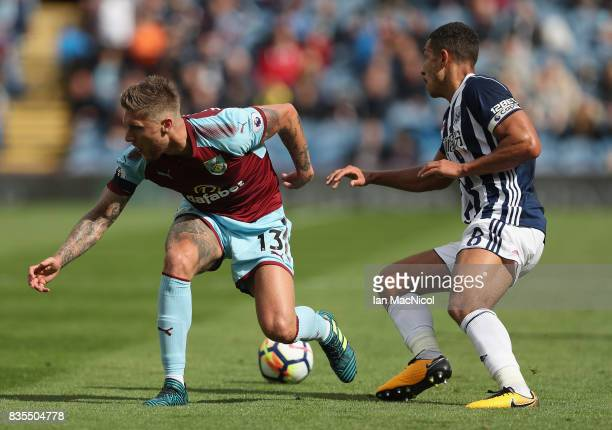 Jeff Hendrick of Burnley and Tom Cleverley of Watford battle for possession during the Premier League match between Burnley and West Bromwich Albion...