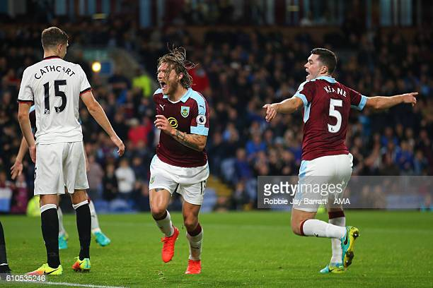 Jeff Hendrick of Burnley celebrates after scoring a goal to make 10 during the Premier League match between Burnley and Watford at Turf Moor on...