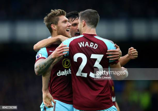 Jeff Hendrick of Burnley celebrates scoring his sides first goal with Stephen Ward of Burnley and Jack Cork of Burnley during the Premier League...