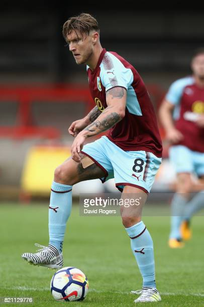 Jeff Hendrick of Burnley controls the ball during the pre season friendly match between Kidderminster Harriers and Burnley at Aggborough Stadium on...
