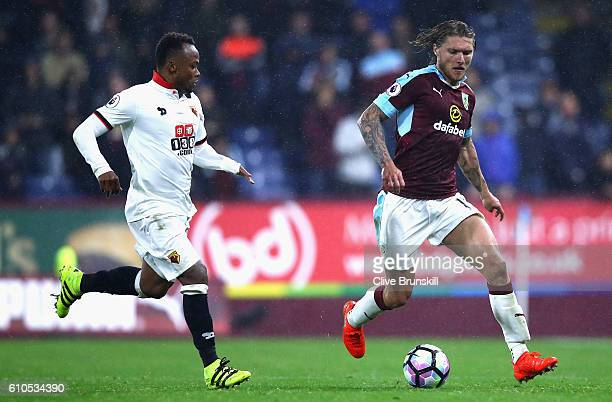 Jeff Hendrick of Burnley is closed down by Juan Camilo Zuniga of Watford during the Premier League match between Burnley and Watford at Turf Moor on...