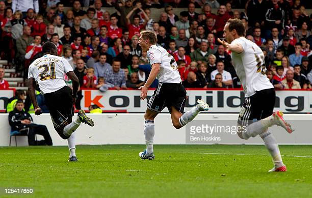 Jeff Hendrick of Derby celebrates after scoring the second goal of the game during the npower Championship match between Nottingham Forest and Derby...