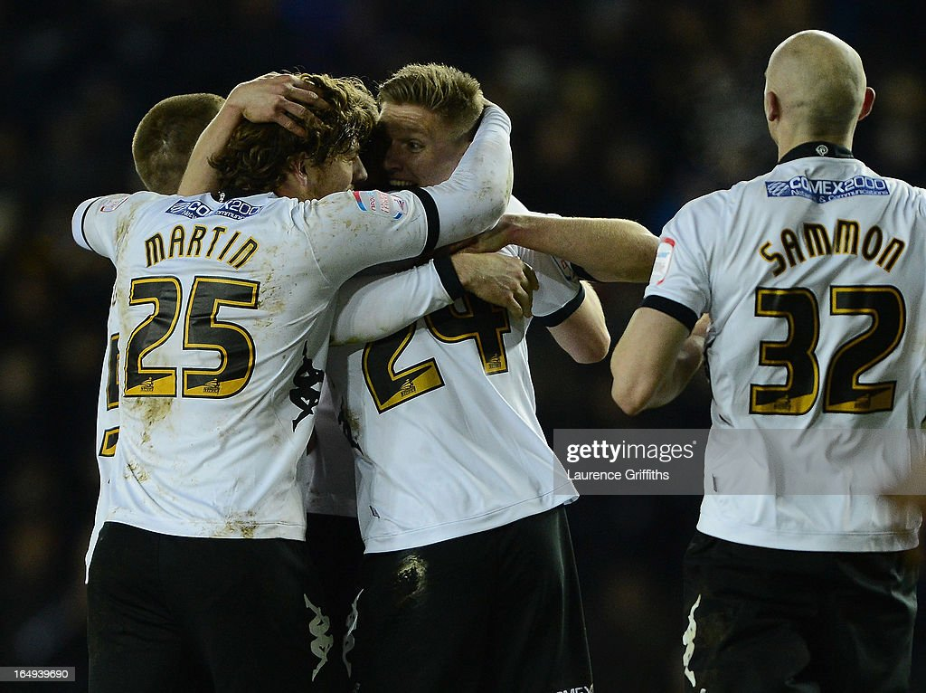 Jeff Hendrick of Derby County celebrates the opening goal during the npower Championship match between Derby County and Bristol City at Pride Park Stadium on March 29, 2013 in Derby, England.