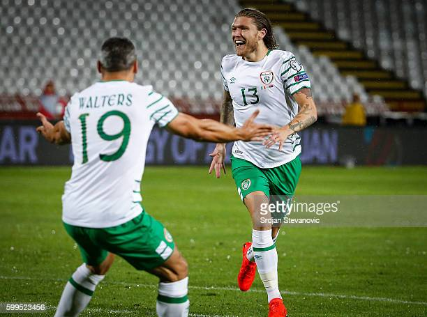 Jeff Hendrick of Ireland celebrate scoring a goal with the Jon Walters during the FIFA 2018 World Cup Qualifier between Serbia and Ireland at stadium...