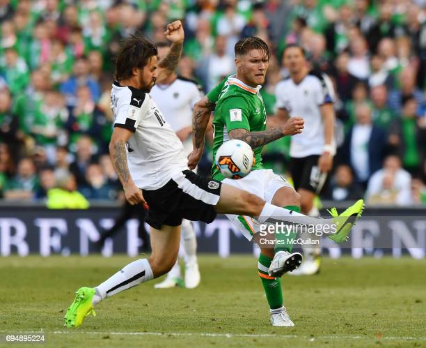 Jeff Hendrick of Republic of Ireland and Martin Harnik of Austria during the FIFA 2018 World Cup Qualifier between Republic of Ireland and Austria at...