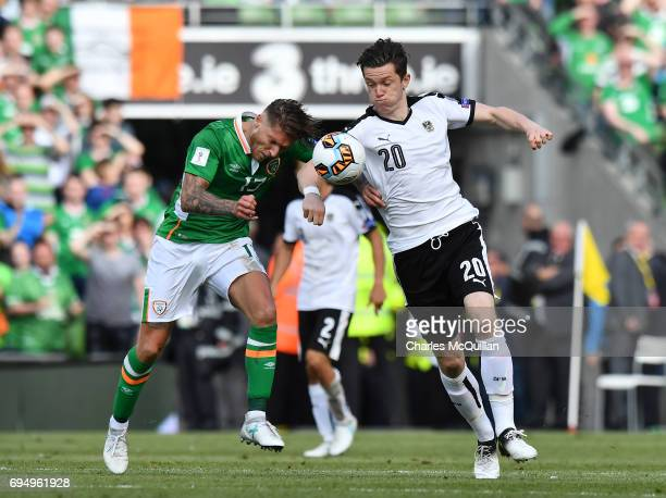 Jeff Hendrick of Republic of Ireland and Michael Gregoritsch of Austria during the FIFA 2018 World Cup Qualifier between Republic of Ireland and...