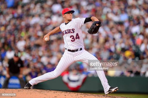 Jeff Hoffman of the Colorado Rockies pitches against the Cincinnati Reds in the third inning of a game at Coors Field on July 3 2017 in Denver...