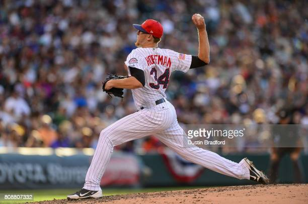 Jeff Hoffman of the Colorado Rockies pitches against the Cincinnati Reds in the fifth inning of a game at Coors Field on July 3 2017 in Denver...