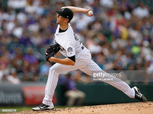 Jeff Hoffman of the Colorado Rockies pitches during the fourth inning of a regular season MLB game between the Colorado Rockies and the visiting Los...