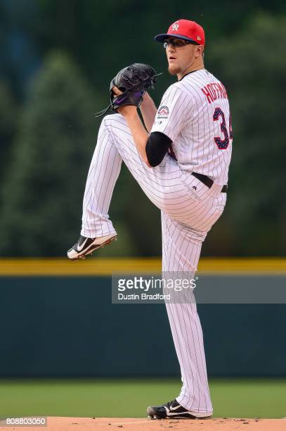 Jeff Hoffman of the Colorado Rockies pitches in the first inning of a game against the Cincinnati Reds at Coors Field on July 3 2017 in Denver...